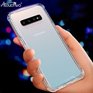 Atouch Samsung S10 Clear Anti-Burst Shockproof Armor Phone Hard Silicone Case