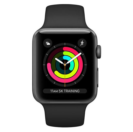 Buy Apple Watch Series 3 GPS - 42mm Space Grey Aluminium Case with Black Sport Band at best price in Qatar.