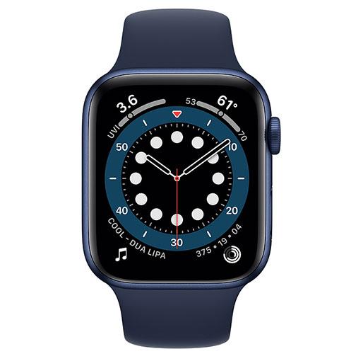 Apple Watch Series 6 GPS,44mm Blue Aluminium Case with Deep Navy Sport Band - Regular
