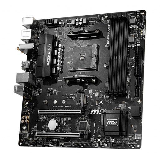 MSI B450M BAZOOKA MAX WI-FI w/ DDR4-2666, 7.1 Audio, M.2, Gigabit LAN, 802.11ac Motherboard