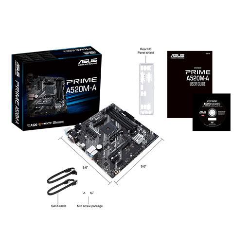 ASUS PRIME A520M-A AMD A520 (Ryzen AM4) micro ATX motherboard with M.2 support, 1 Gb Ethernet, HDMI/DVI/D-Sub, SATA 6 Gbps, USB 3.2 Gen 1 Type-A