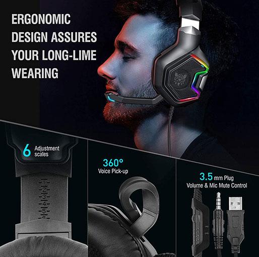 ONIKUMA K1 Pro RGB 7.1 Noise Canceling Surround Sound Gaming Headset for PCPS4Nintendo