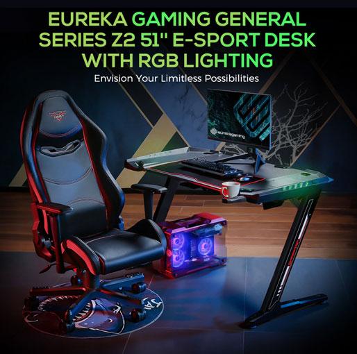 Eureka Ergonomic General Series Z2 51'' E-sports Gaming Desk with RGB Lights