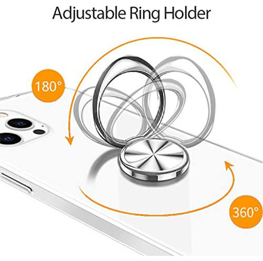Platina iPhone 12 Pro Max 6.7 inch anti-impact Transparent Soft Silicon Clear case with Finger Ring Holder
