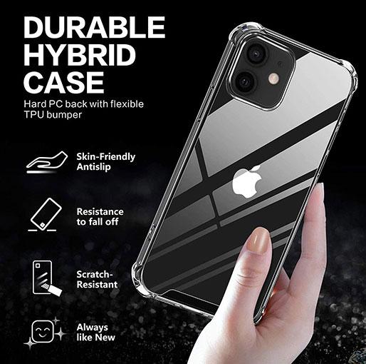 Platina iPhone 12 Mini 5.4 inch anti-impact Transparent Soft Silicon Clear case