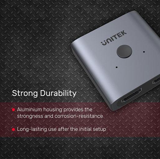 Unitek 4K Aluminium HDMI 2.0 Switch 2-To-1 Bi-Directional