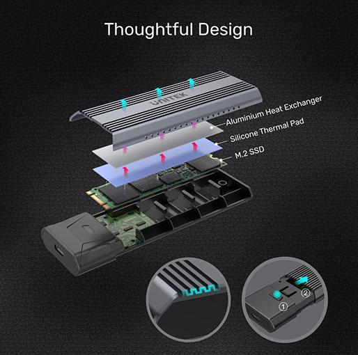 Unitek SolidForce USB-C to NVMe/SATA M.2 SSD 10Gbps Enclosure Lite