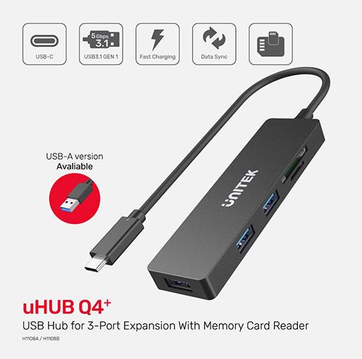 Unitek uHUB Q4+ 5-in-1 USB 3.0 Hub with Dual Card Reader