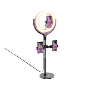 Buy Hoco Tabletop holder LV01 Rouge for live broadcast Stand for 3 phones, with round fill light, for 4.7-6.5 inches phones. at best price in Qatar.