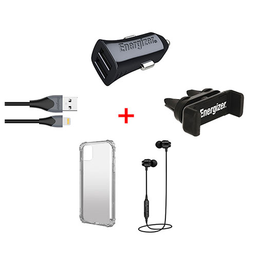 All In One Car Kit Earphone Car Charger USB Cable Vent Mount And Protective Case For iPhone Xi Pro