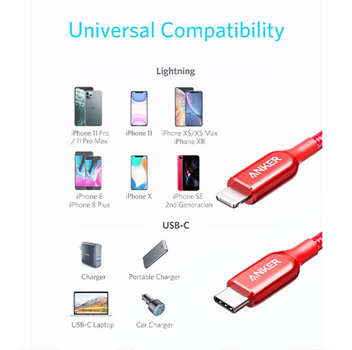 Anker PowerLine + III USB-C to Lightning Cable - 1.8 Meters