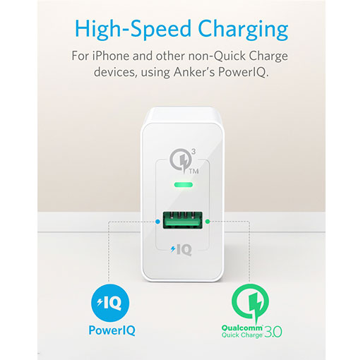 Anker PowerPort+ 1 with Quick Charge 3.0 Quick Charge 3.0, Anker 18W 3Amp USB Wall Charger - White