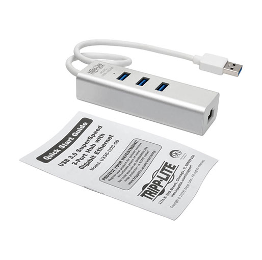 Tripp Lite USB 3.0 SuperSpeed to Gigabit Ethernet NIC Network Adapter with 3 Port USB 3.0 Hub