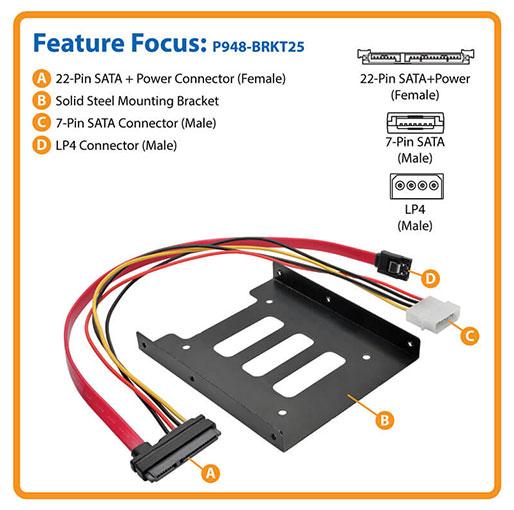 Tripp Lite 2.5-Inch SATA Hard Drive Mounting Kit for 3.5-Inch Drive Bay