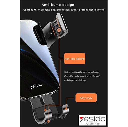 YESIDO C87 Elegant Tempered Glass Panel Car Air Vent Mobile Phone Holder Aluminum Alloy Gravi