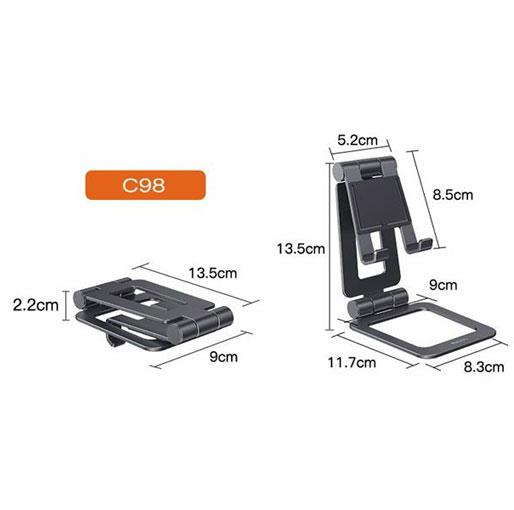 YESIDO C98 Aluminum Alloy Anit-Skid Mini Desktop Mount Mobile Phone Tablet Universal Holder Bracket