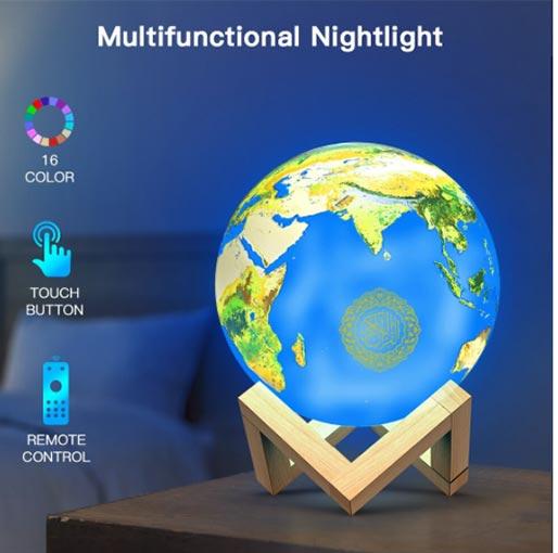 Buy Muslim AZAN Quran Speaker Earth lamp Wireless Bluetooth Speakers Quran Speakers 3D Quran Touch Lamp 16 Colors at best price in Qatar.