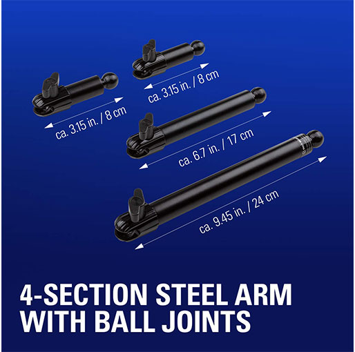 Corsair Elgato Flex Arm Kit, Four Steel Tubes with Ball Joints - Compatible with All Elgato Multi Mount Accessories - Black