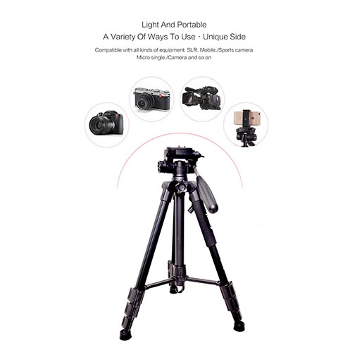 Jmary KP-2234 Professional Aluminium Tripod for All DSLR Cameras (Black)