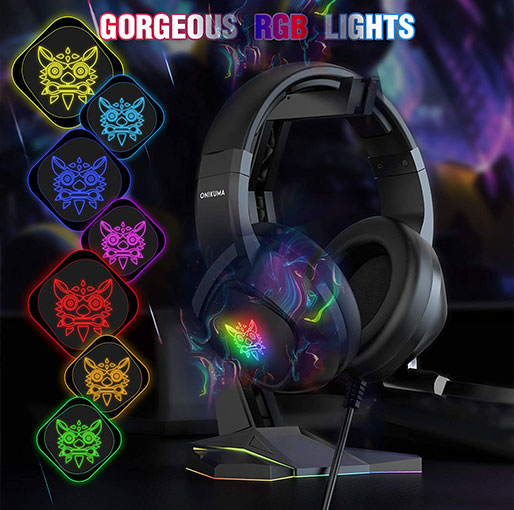 ONIKUMA K19 Gaming Headset -Xbox One Headset PS5 Headset with 7.1 Surround Sound Pro Noise Canceling Gaming Headphones with Mic & RGB LED Light Compatible with PS4, Xbox One,PC
