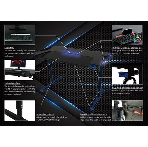 Twisted Minds GDTS-4 RGB Gaming Desk - Black/Blue