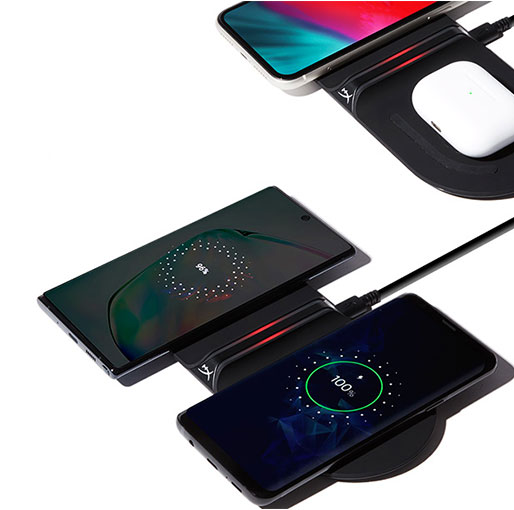 HyperX HX-CPBS-G ChargePlay Base - Qi-Certified Wireless Charger, Dual Pad, Charge up to two devices, Up to 10W Charging, Battery Indicator, Compatible with Qi-Enabled Devices