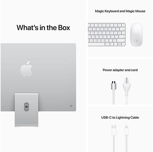 "Apple 24"" iMac with Retina 4.5K display - Apple M1 8GB 256GB SSD 2021 - Silver"