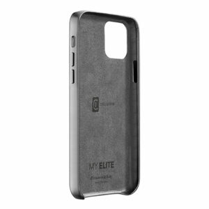 Cellularline Elite - iPhone 12 Pro Max Stylish smartphone case with faux leather and matching satin-finish aluminium buttons - Black