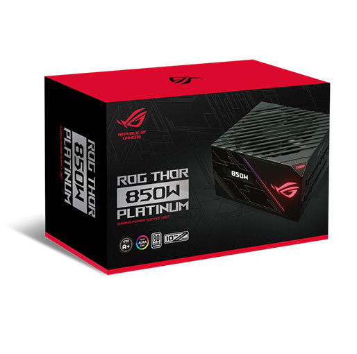 ASUS ROG Thor 850W Platinum Power Supply Unit with Aura Sync and OLED Display, 80 Plus Platinum Certification, Wing Blade Fan With 0db Technology